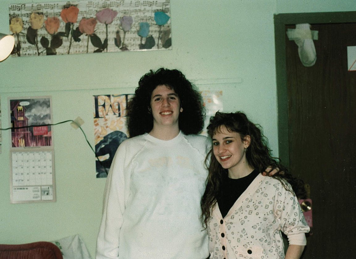 Mindy and me freshman year at Syracuse with our slam-proof sock on our door.