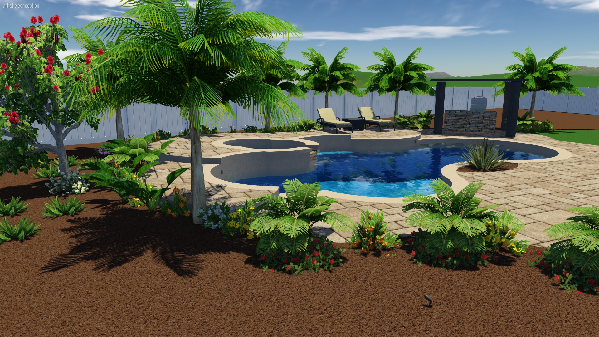 3d designs of pool and landscapes