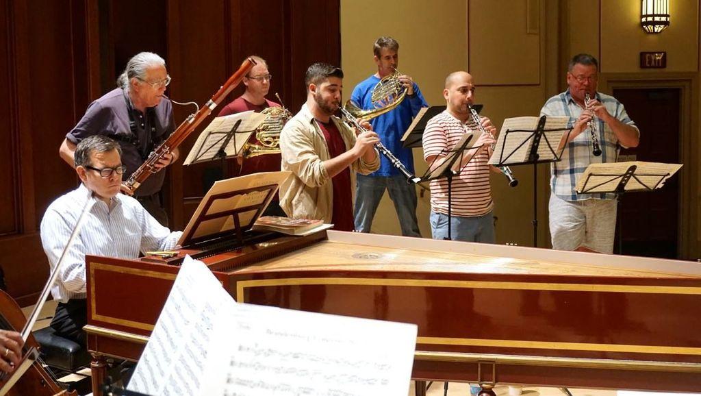 Camerata Pacifica rehearsing Bach's Brandenburg Concerti