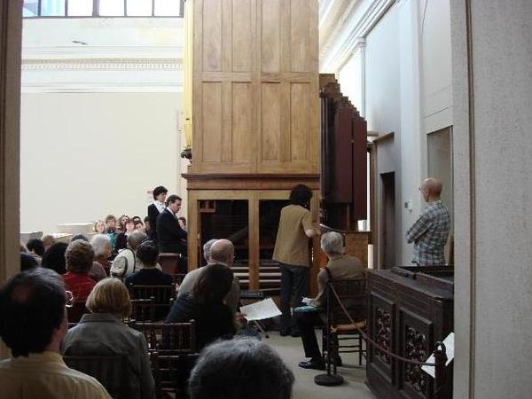hand-pumping, in recital,Thomas Appleton organ, 1830,Metropolitan Museum of Art, New York