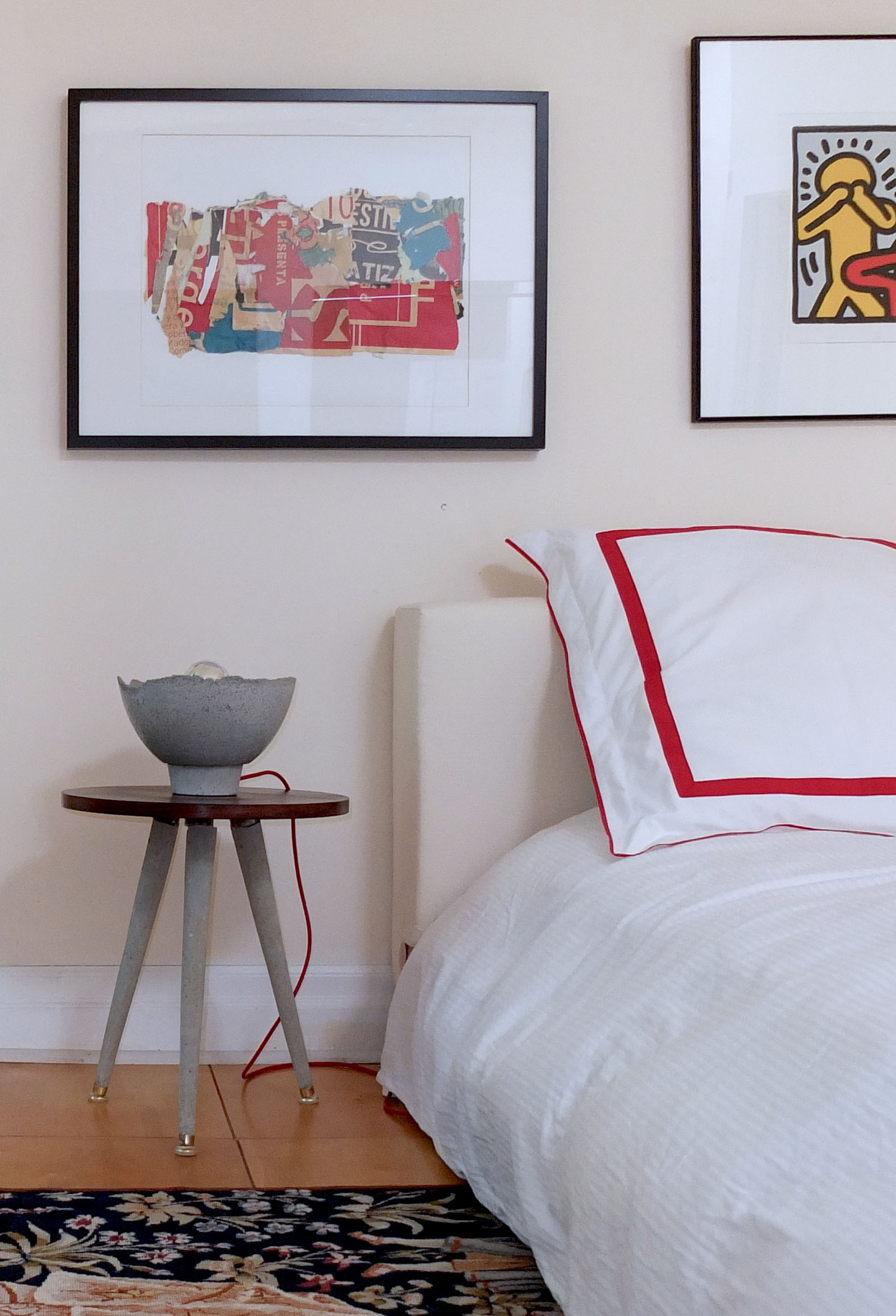 Rosewood and concrete side table - bedroom decor