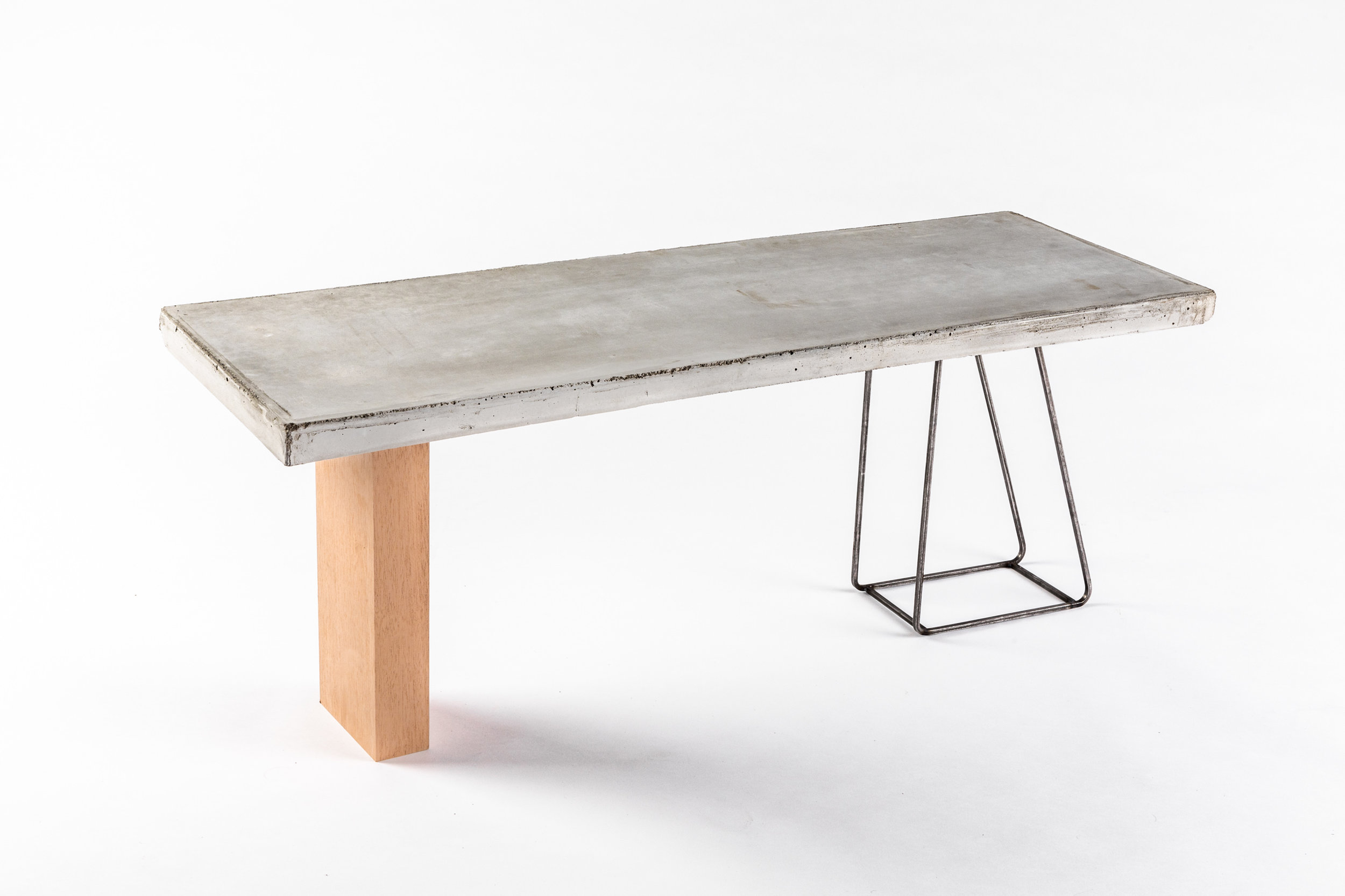 Collectible concrete mahogany and steel designer bench