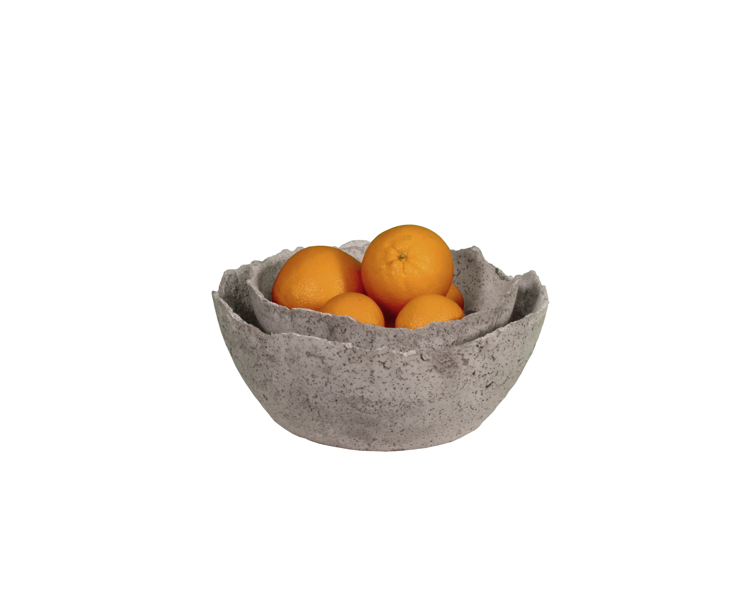 Nestled concrete bowls with oranges