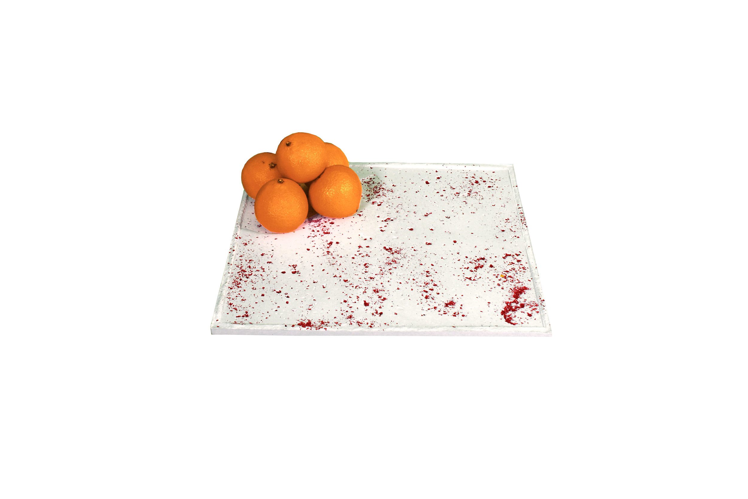 Ochre concrete tray with oranges