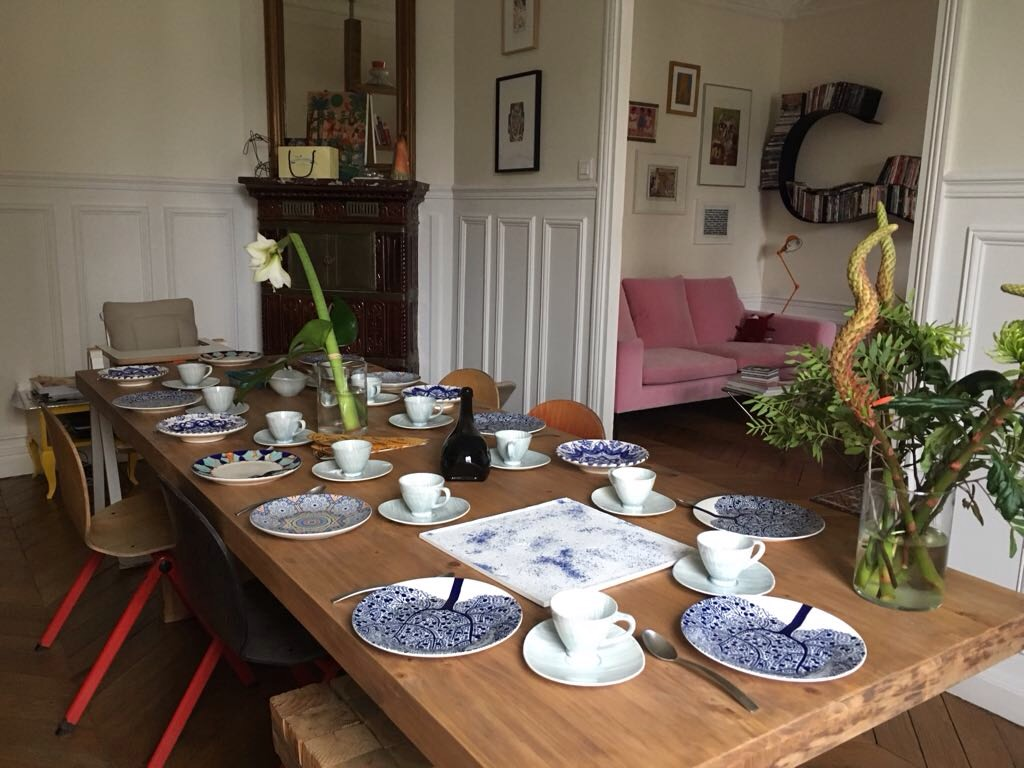 Concrete tray in elegant dining room