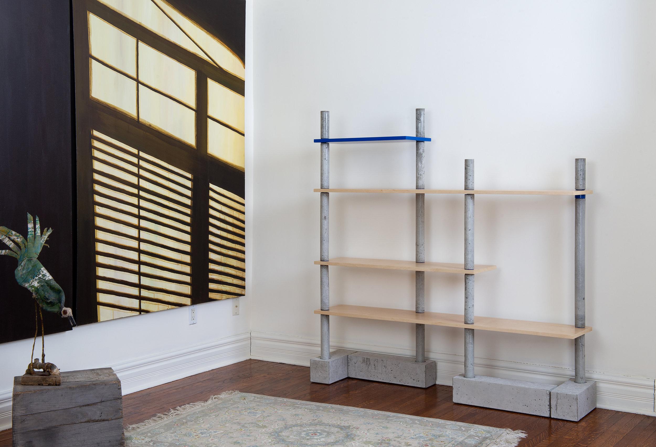 Designer bookcase - concrete and maple