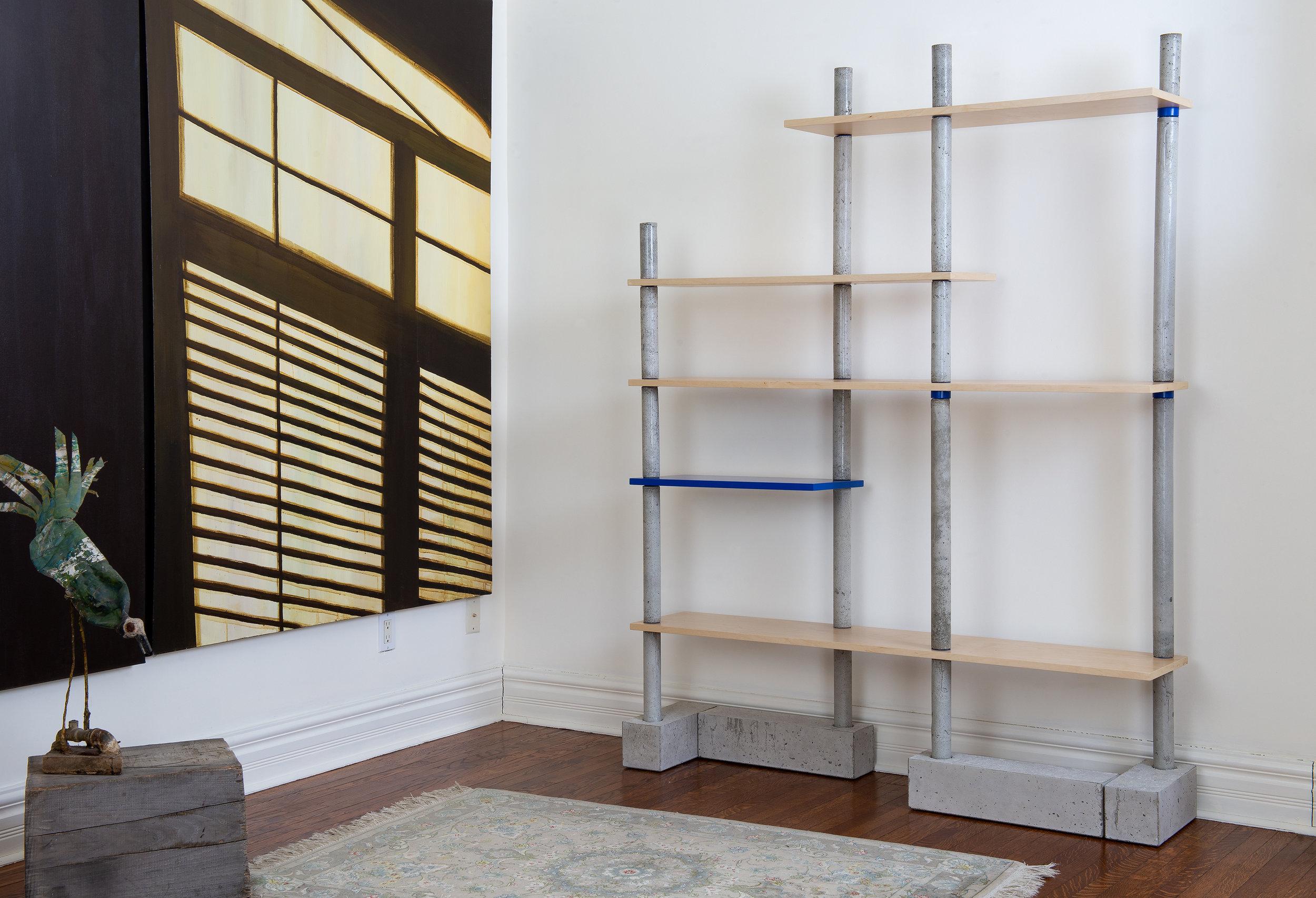 Collectible concrete bookcase