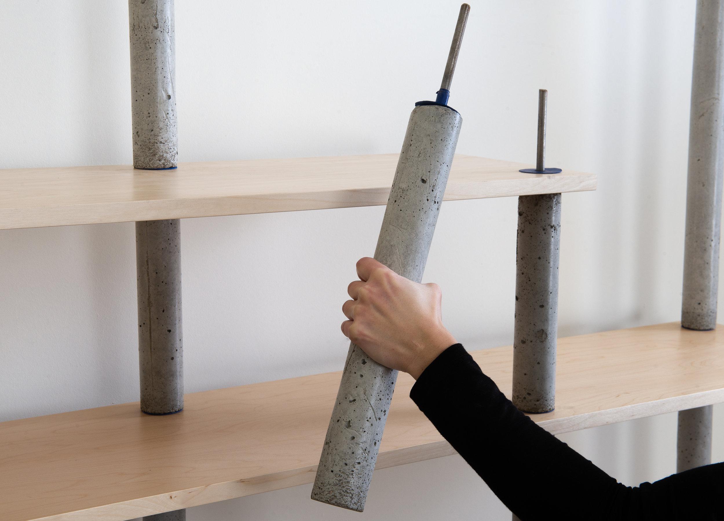 Concrete bookcase pillar - easy assembly