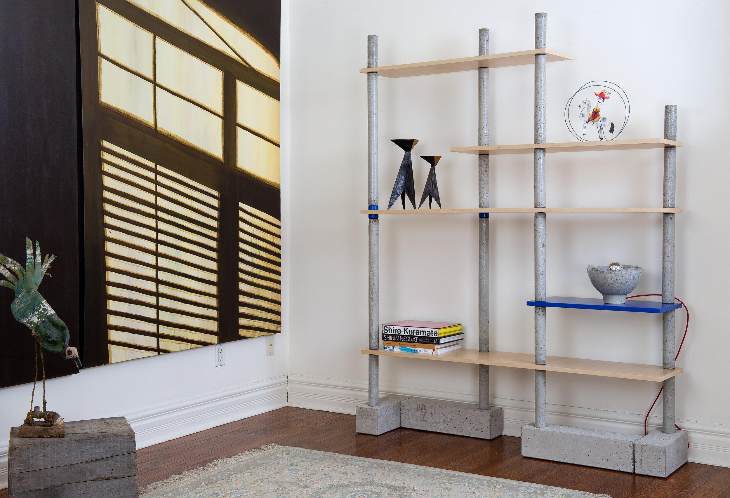Concrete & maple modular bookcase - collectible design