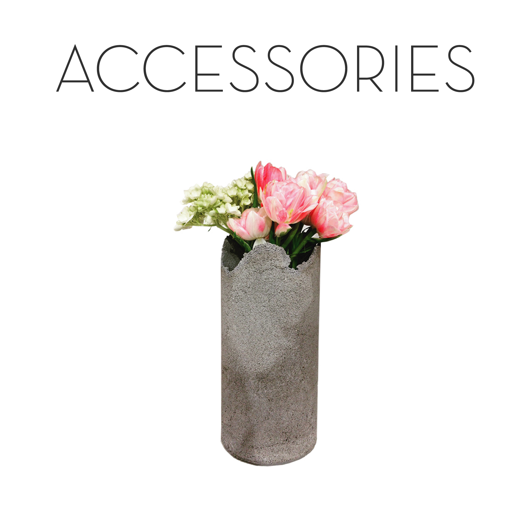 delicate concrete vase, concrete home decor