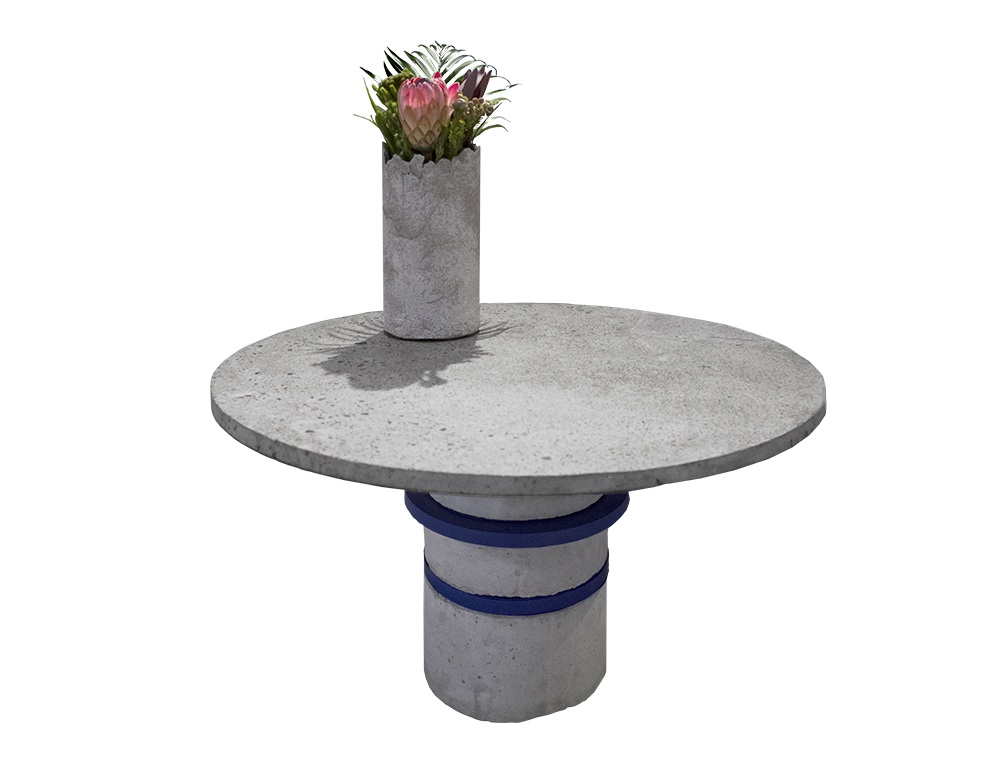 Designer concrete and wood coffee table