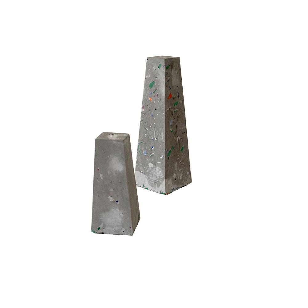 concrete salt shaker, recycled plastic, plastic toc