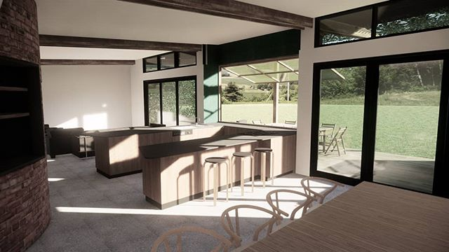 LOVEDAY // STUDIO AKA // With the slab down and the framing on it's way this project is coming along nicely. Here's a little render we did of stepping out into the morning country sun in the open living, kitchen & dining space!
