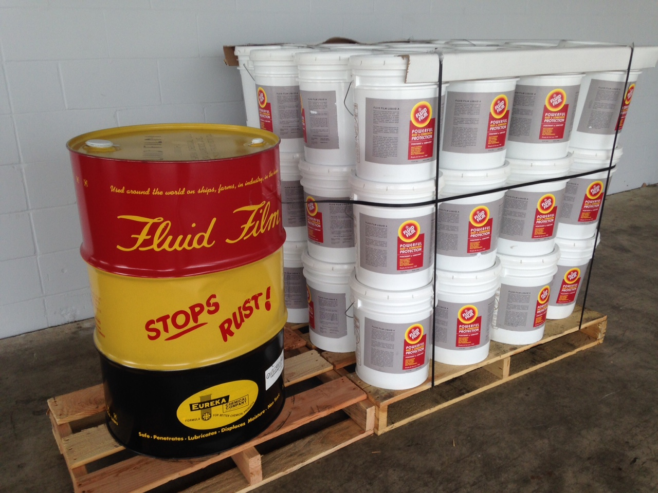 Fluid Film, 55 gal, drum, fluid film, lubricant, eco friendly, rust, powerful, corrosion, protection, penetrant, multi-purpose, eco-friendly, easy apply, no solvents, protects, all metals, non-toxic, hazardous, long lasting, lanolin, factory direct, spray, can, drum, bin, pallet, bulk, gallon, manufacturer rep, drop ship, aerosol, environmental friendly