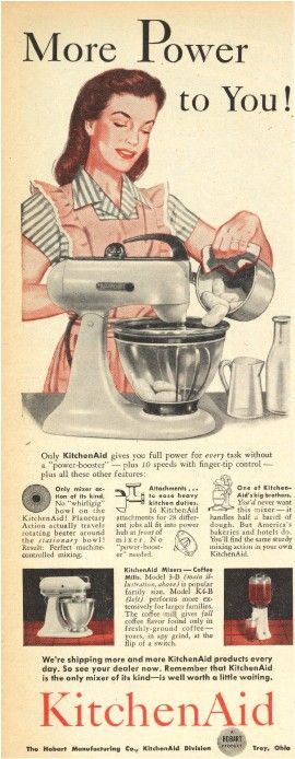 The Subversive History of the KitchenAid Stand Mixer    by Sarra Sedghi |  KitchenAid is celebrating it's 100th anniversary this year an has a wonderful  company visual narrative  that pairs well with Sarra's piece.