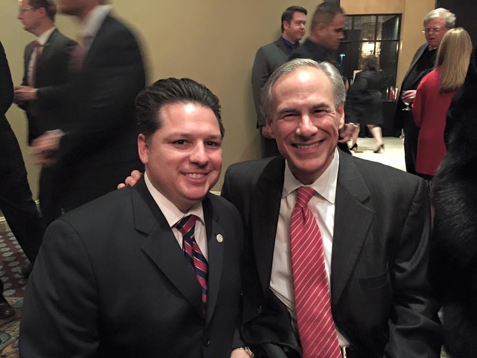 Weston Martinez (Left) with Governor Greg Abbott  Photo by Martinez campaign