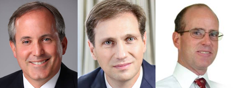 FROM LEFT: Ken Paxton, Justin Nelson, Michael Ray Harris  Photos by Campaigns