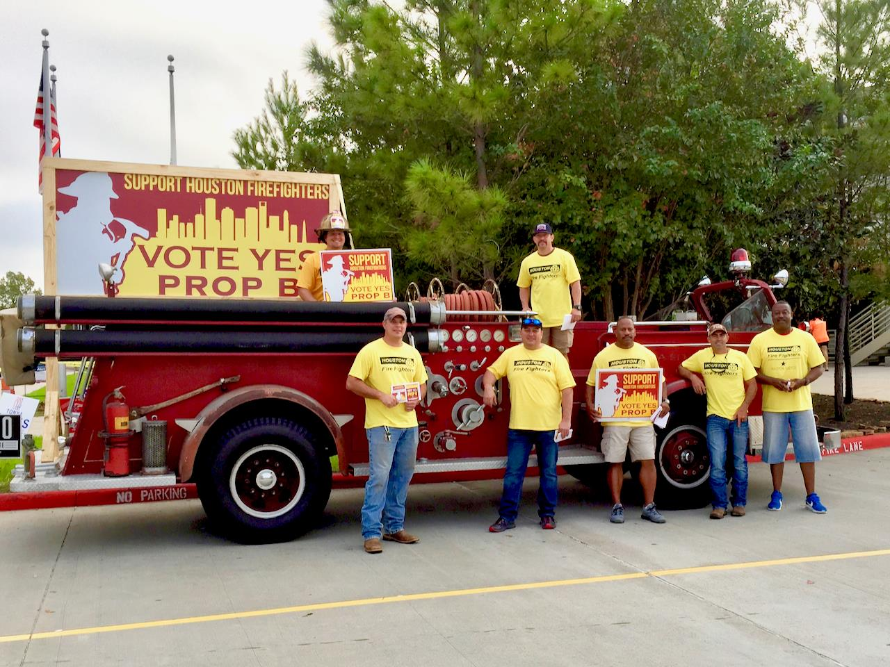 Volunteers campaign for Proposition B  Photo by Houston Professional Firefighters Association