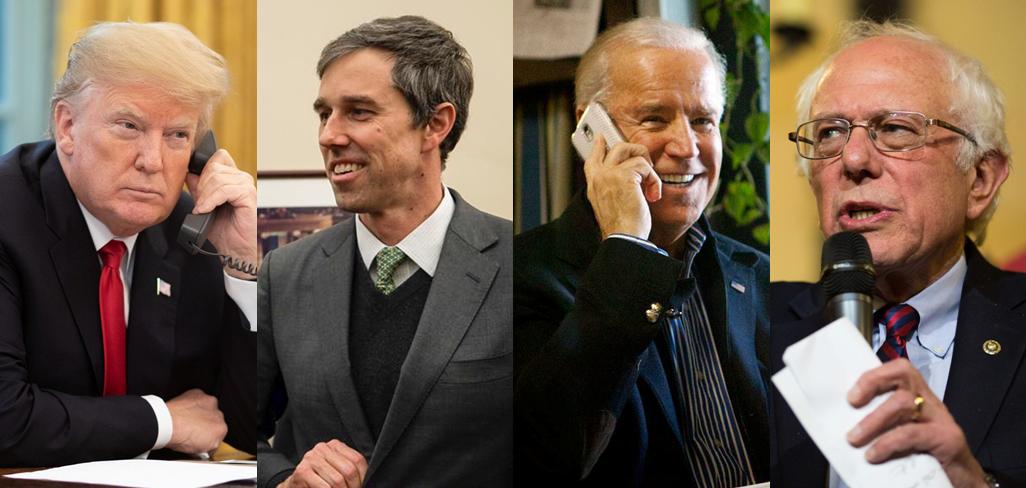 (FROM LEFT): Donald Trump, Beto O'Rourke, Joe Biden, Bernie Sanders  Photos by Campaigns