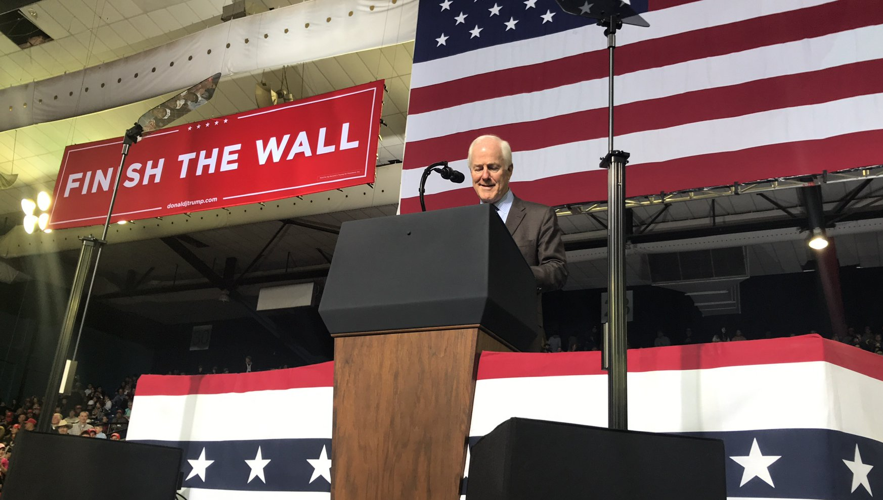 Cornyn speaks at a rally for President Donald Trump in 2018  Photo by Cornyn Campaign