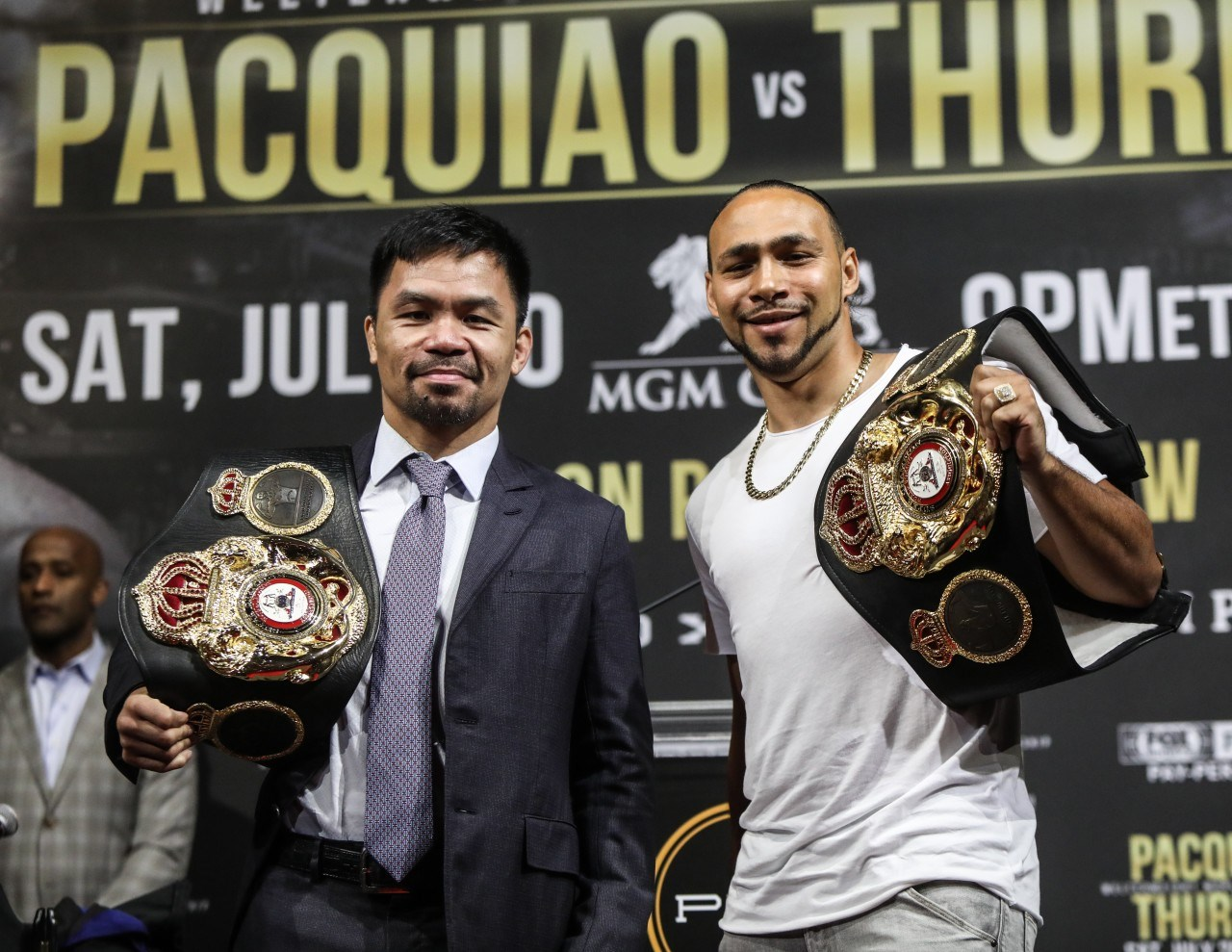 (FROM LEFT): Pacquiao, Thurman  Photo by Fathom Events