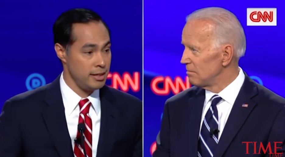 Castro (LEFT) with Biden (RIGHT) during the July 31st debate  Screenshot from Time Magazine Video