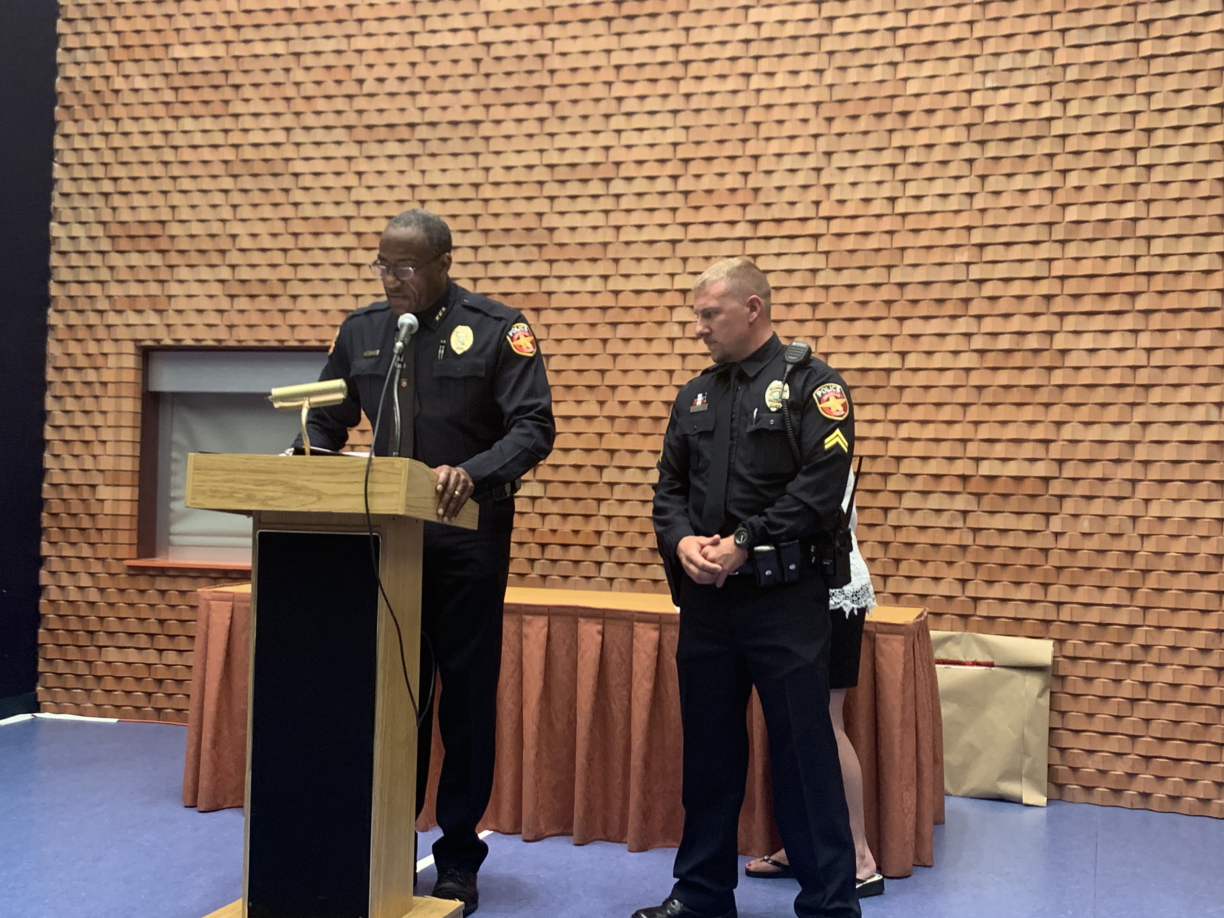 APD Chief Ed Drain (LEFT) speaks at the ceremony/Photo by APD