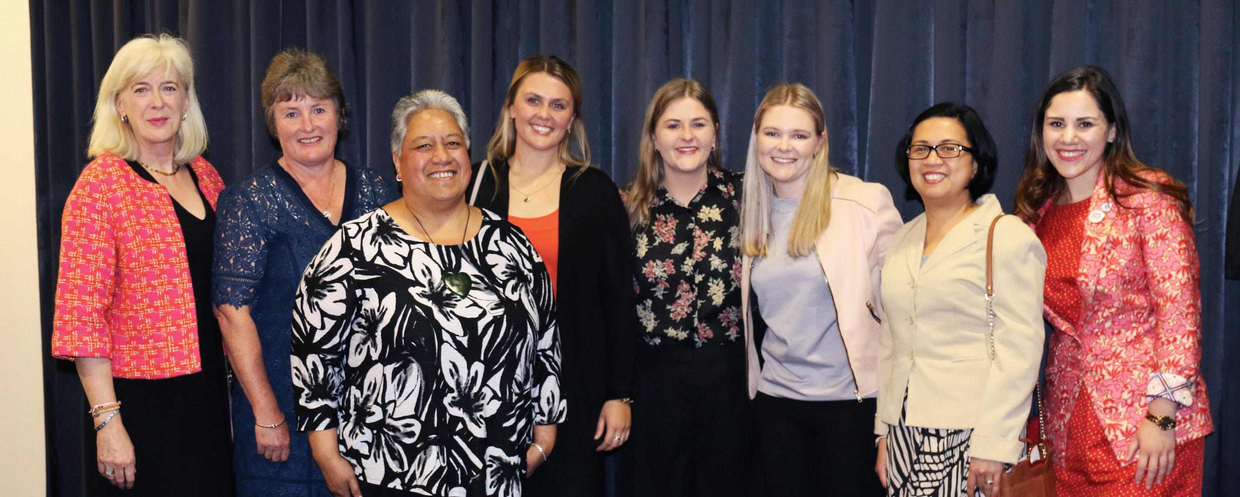 From left: Lucy Lloyd-barker, sally lee (past board member), jamie toko, jaime mcfie, brittany oliver (past board member), charlotte muggeridge, marilyn castillo and kimberley kilgour.