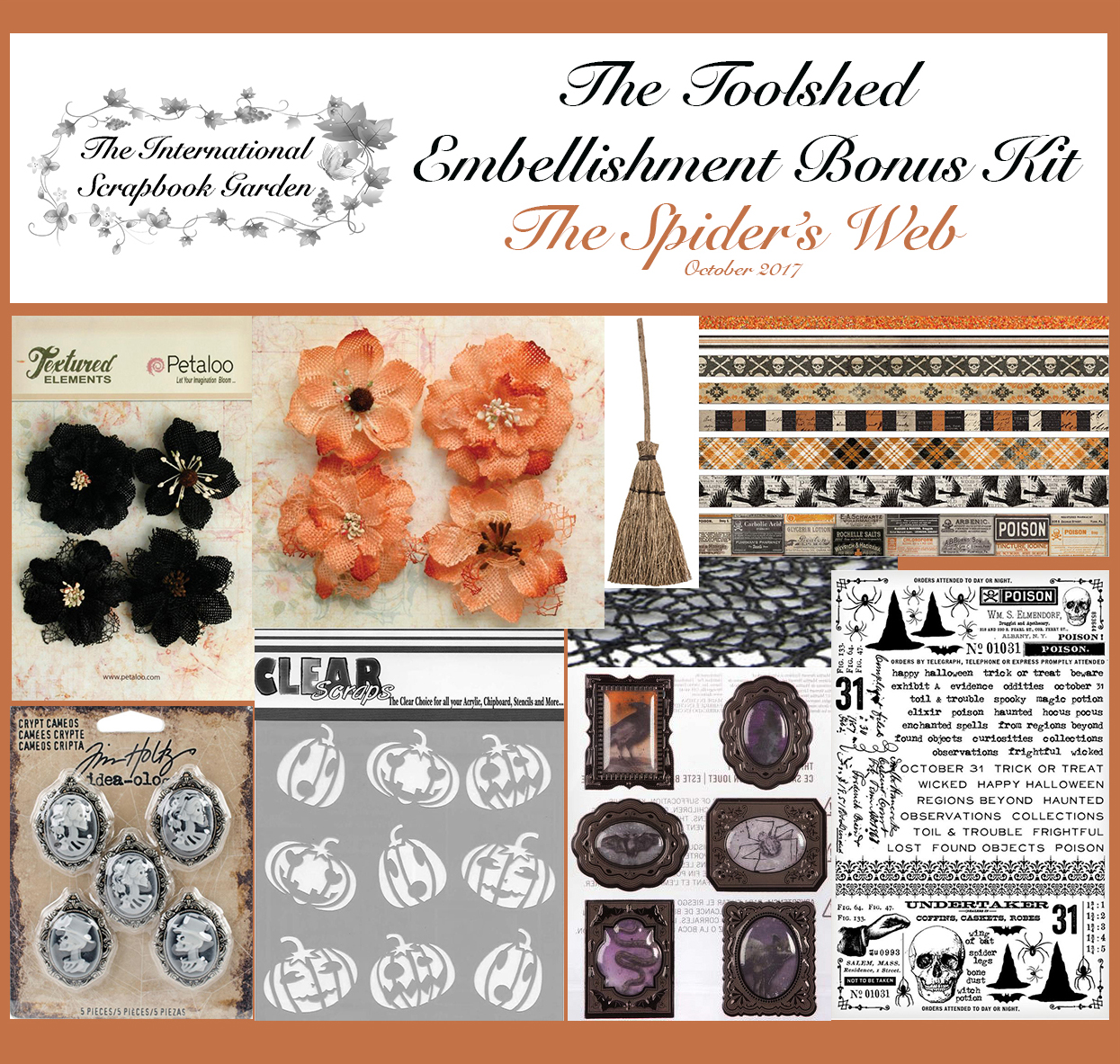 Tim Holtz Idea-ology Halloween Design Tape                                            Clear Scraps Jack-o-lantern Stencil                                        Tim Holtz Idea-ology Gothic Remnant Rubs                                              Petaloo Black Burlap Blossoms