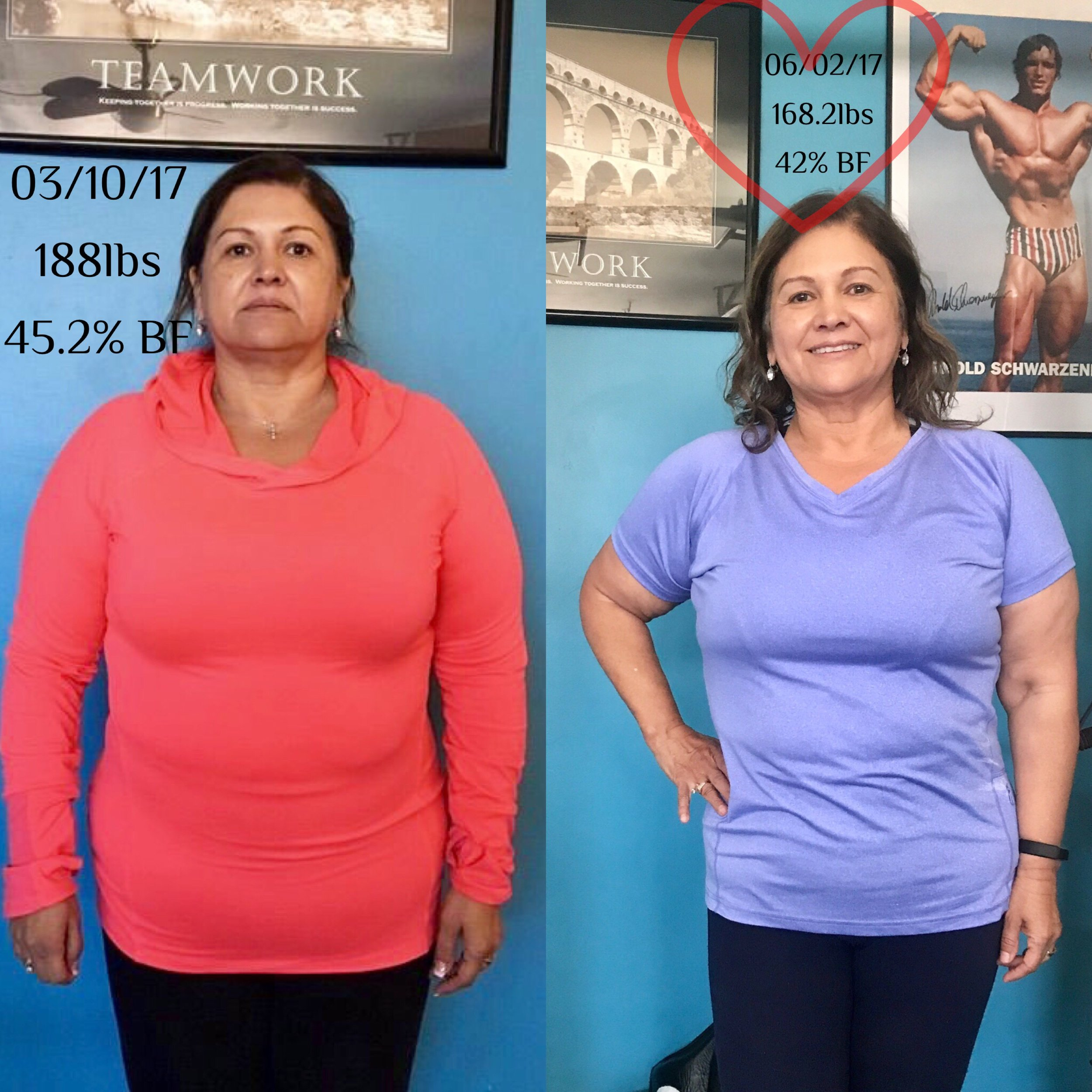 ELVIRA BEGAN HER JOURNEY MARCH 10, AT 188LBS AND JUNE 02, SHE WAS ABLE TO LOSE A TOTAL OF 20 LBS TO FEEL MORE CONFIDENT, FOCUS AND HAPPY WITH HOW SHE LOOKED.