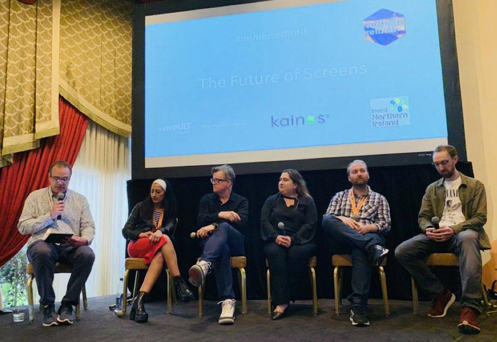 Future Of Screens panel with (l2r) Nigel McAlpine, Deepa Mann-Kler, Alex McDowell, Cathy Hackl, Aurelien Simon, Warren Bell