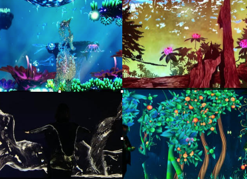 Stills from a series of interactive exhibits at Onedome in San Francisco