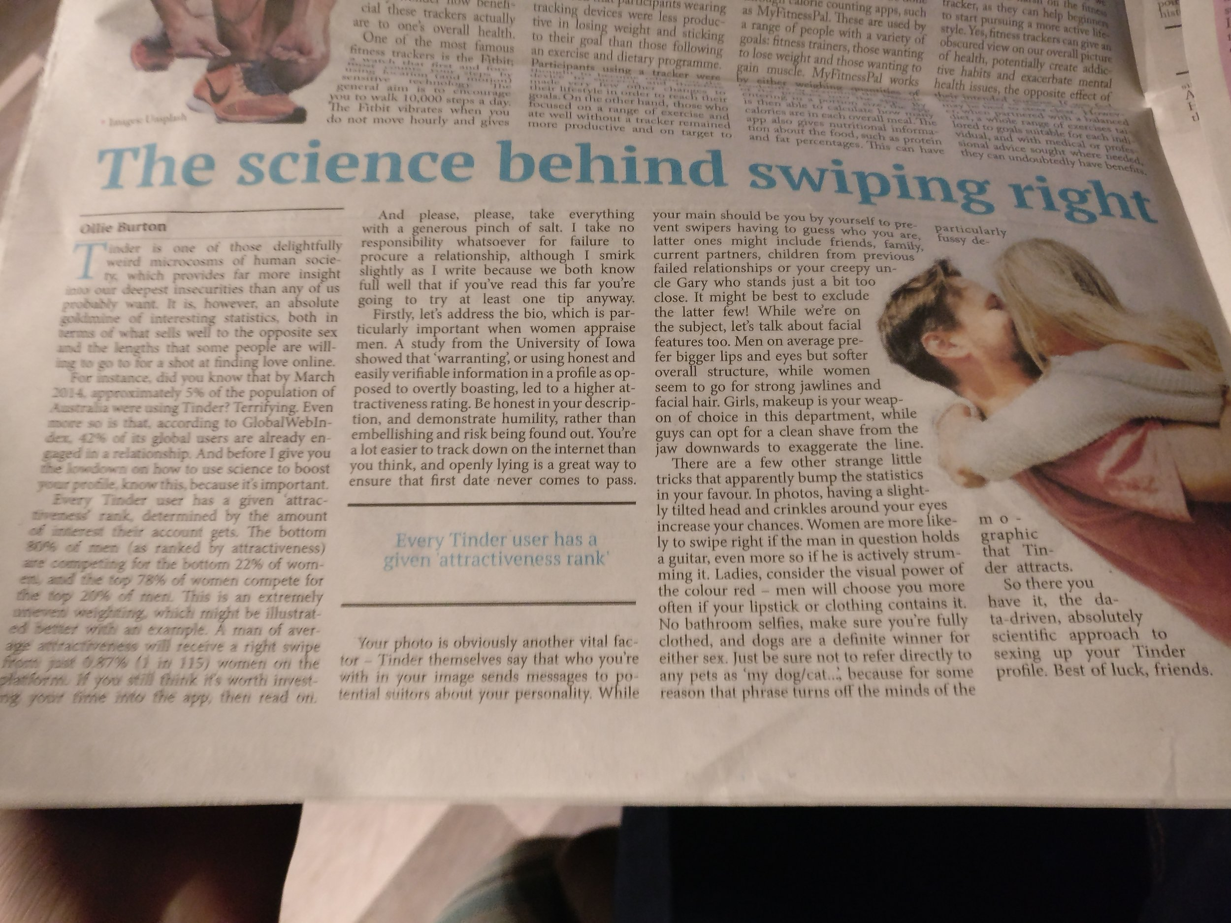 I also saw that my first print article for The Boar, concerning the science of Tinder had been published in this week's issue. Fun times.