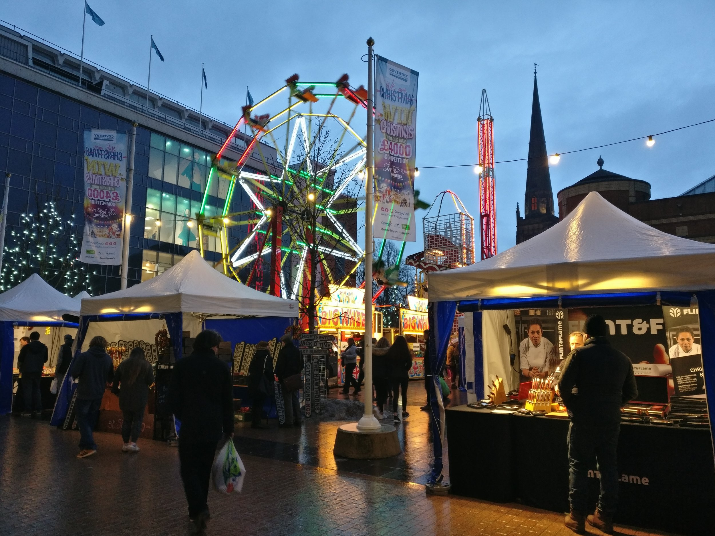 The centre of Coventry all dolled up for the holidays