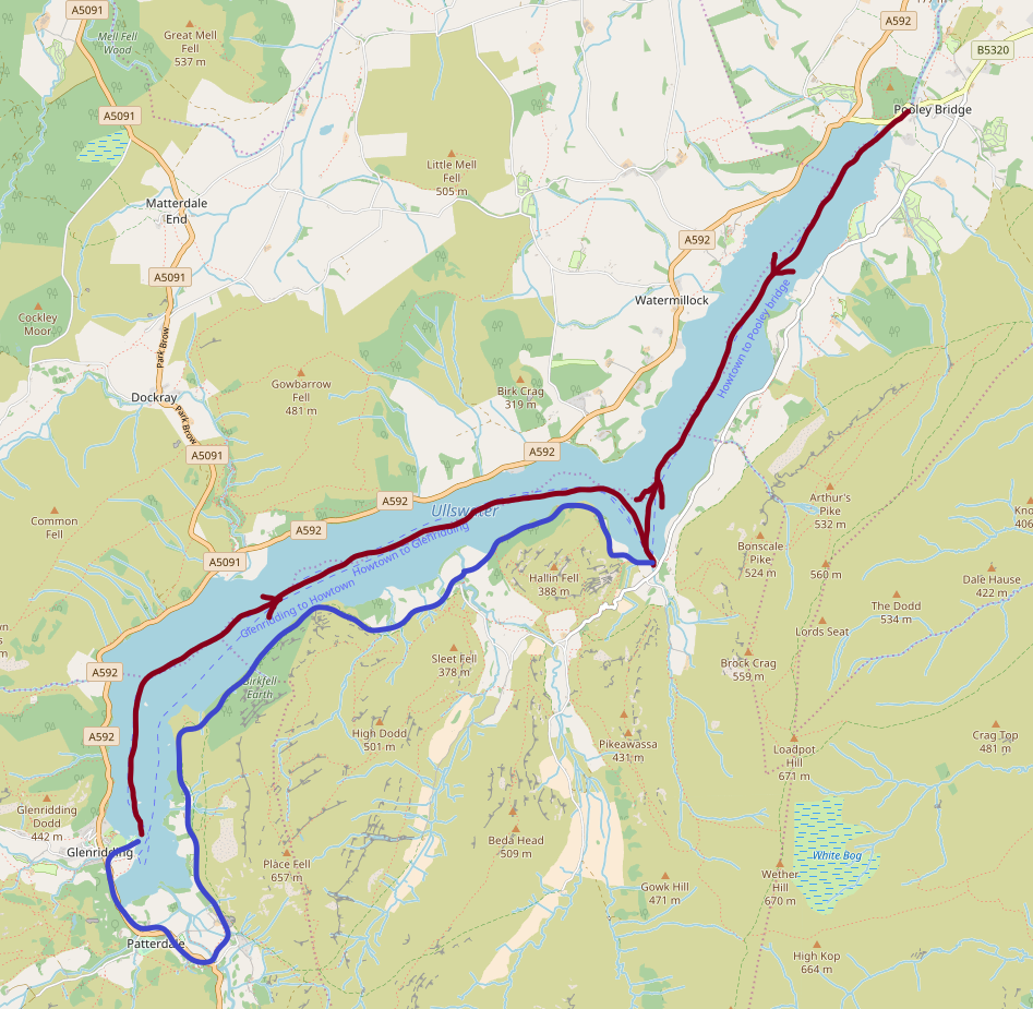 Ullswater Steamer (red) - Walk From Howtown To Glenridding (blue)