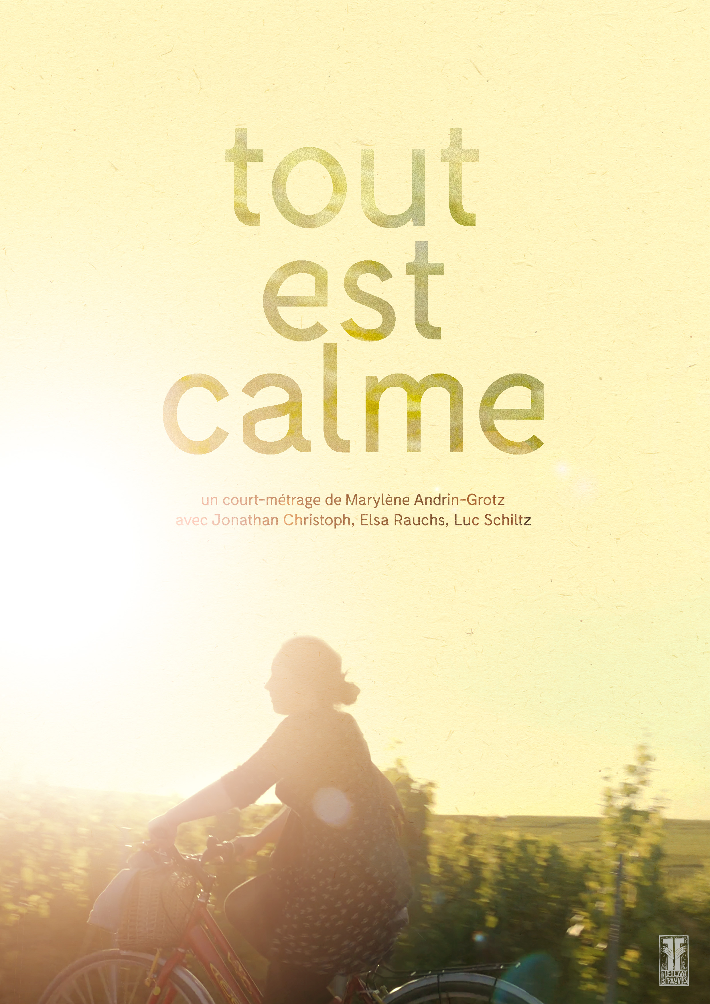 TOUT EST CALME /ALL IS CALM - Directed by Marylène ANDRIN-GROTZScript by Marylène ANDRIN-GROTZWith Jonathan CHRISTOPH, Elsa RAUCHS & Luc SCHILTZYear:2016Original Version:FrenchGenre:Drama, SocialRunning Time:19minProduction companies:LES FILMS FAUVES (LU)