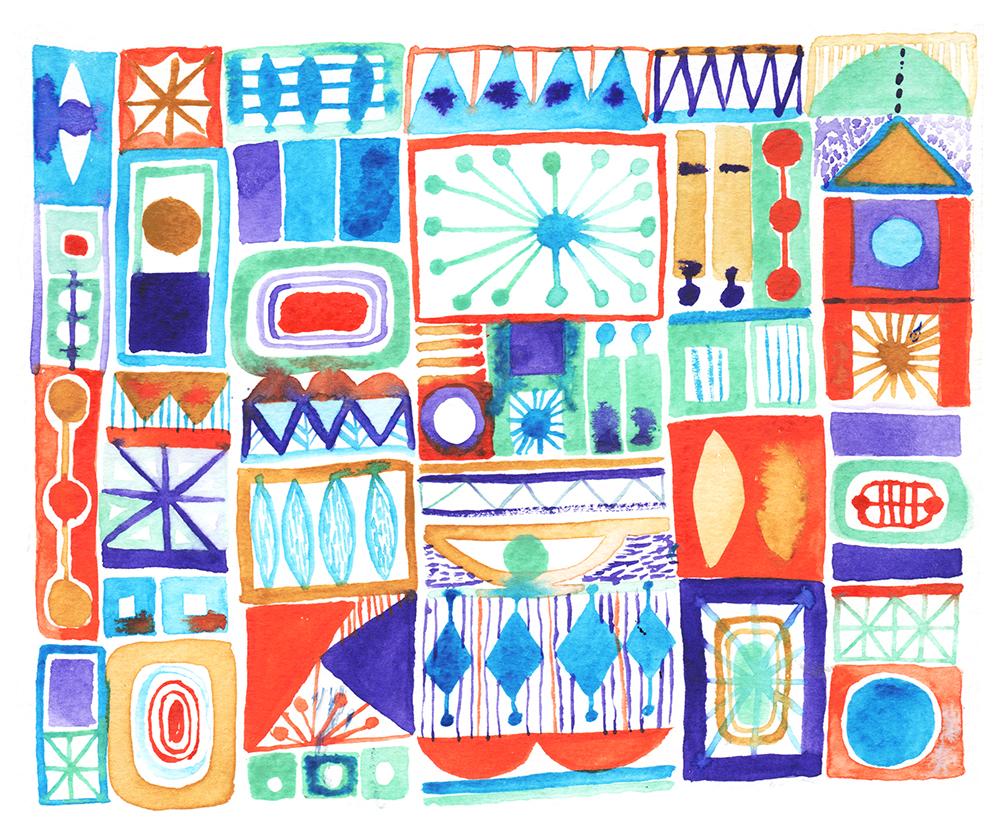 """Cosmic Blocks""Watercolour on Paper, 2018"