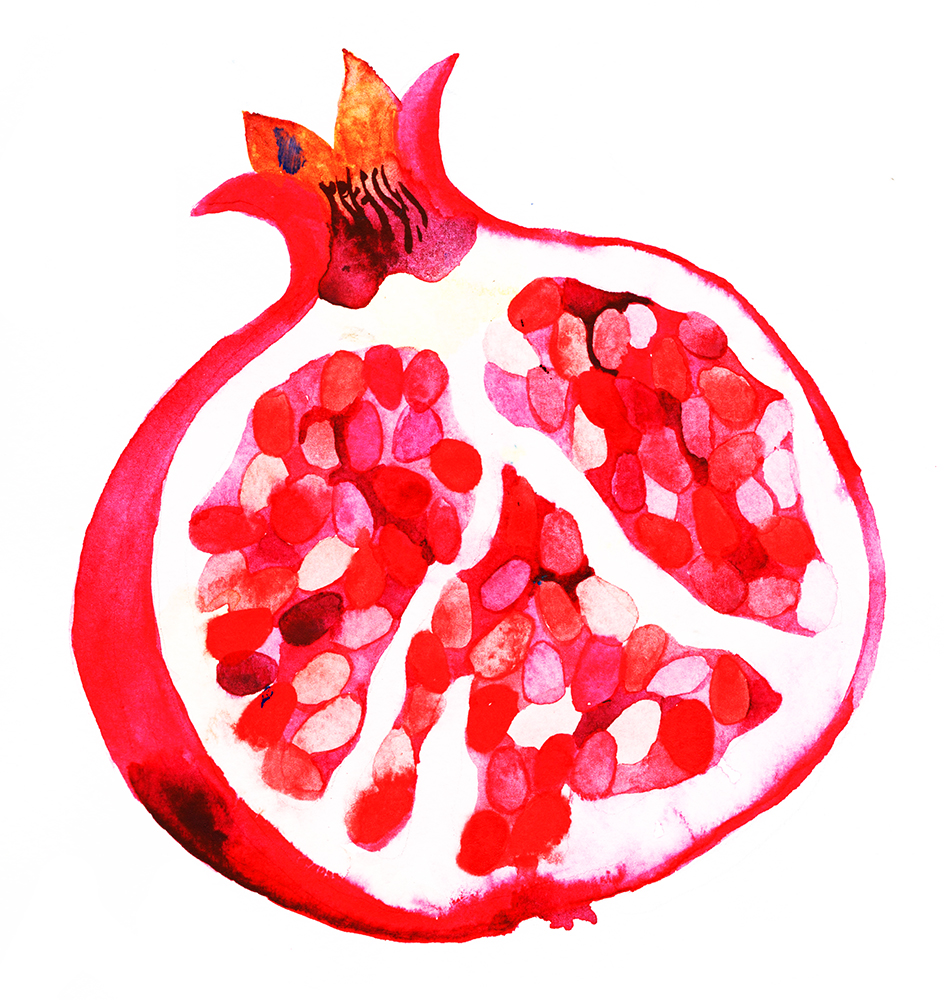 """""""Pomegranate""""Watercolour on Paper, 2018  Available as an Archival Print here."""