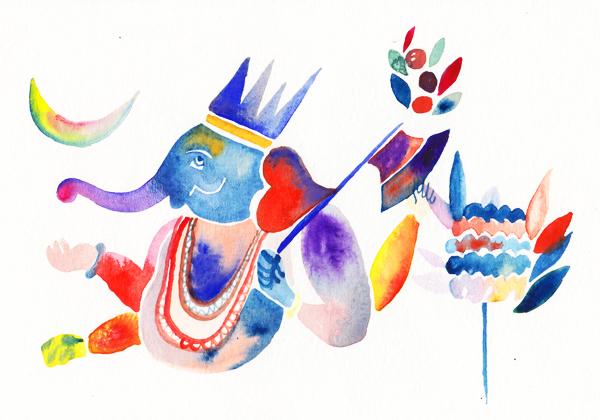 """Ganesh"",Watercolour on Paper, 2013"