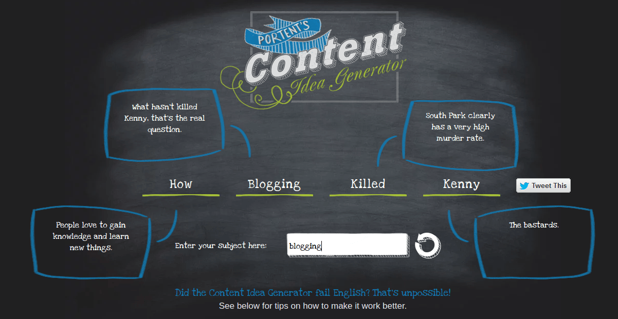 portent content idea generator blogging