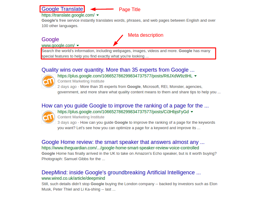 Google page title and meta description