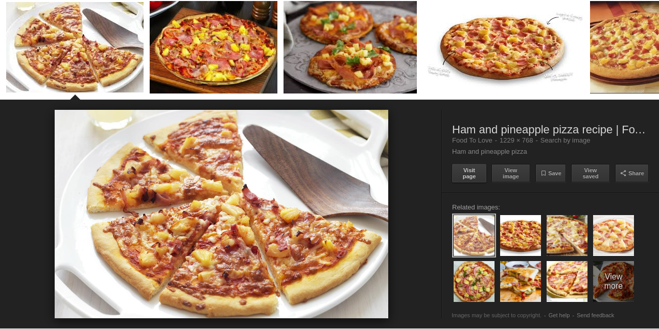ham and pineapple pizza image search