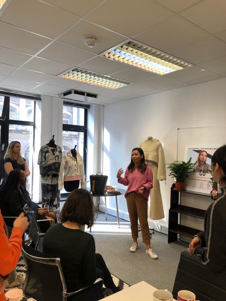 CO Director of Product, Qiulae, announcing the Fashion Open Studio and Common Objective partnership for Fashion Revolution Week 2019.