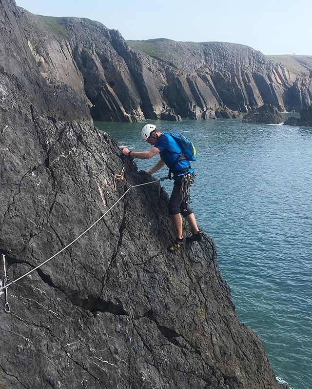 Trad Ops' back at Penally today. #pembrokeshire #seacliff #climbing @ami_professionals
