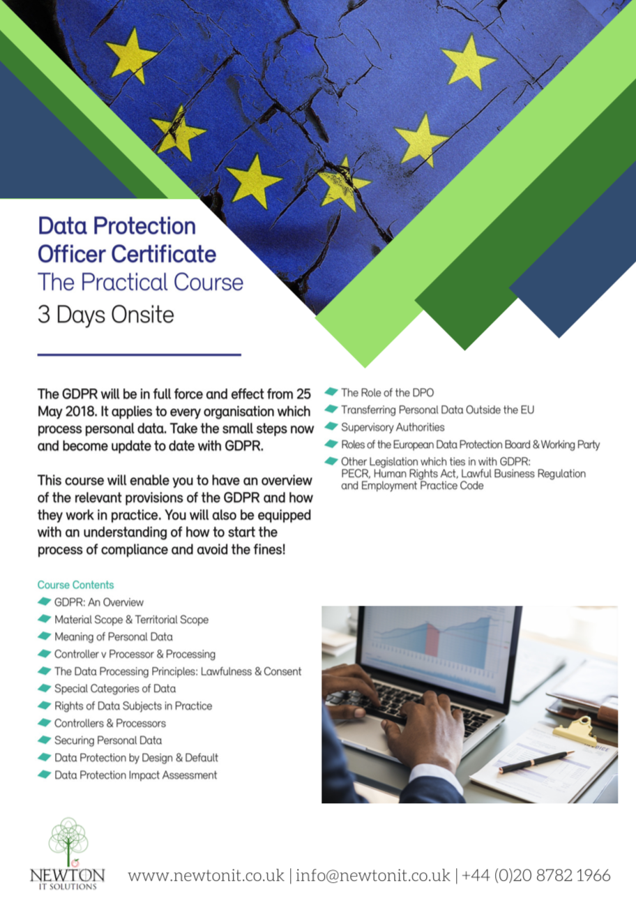 Data Protection Officer Certificate Training Course Leaflet