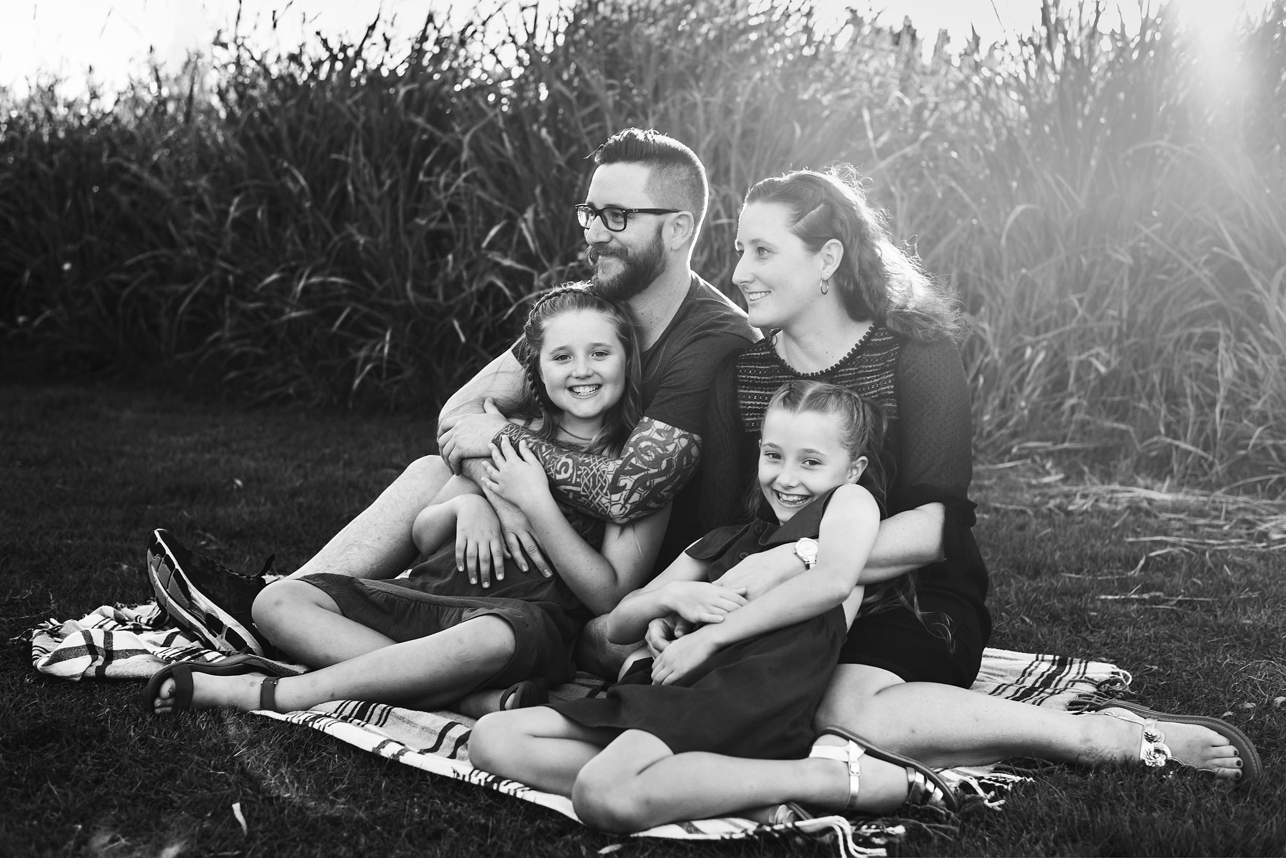Katy Bindels Brisbane Family photographer black_and_white_family_portrait_Lawnton_park.jpg