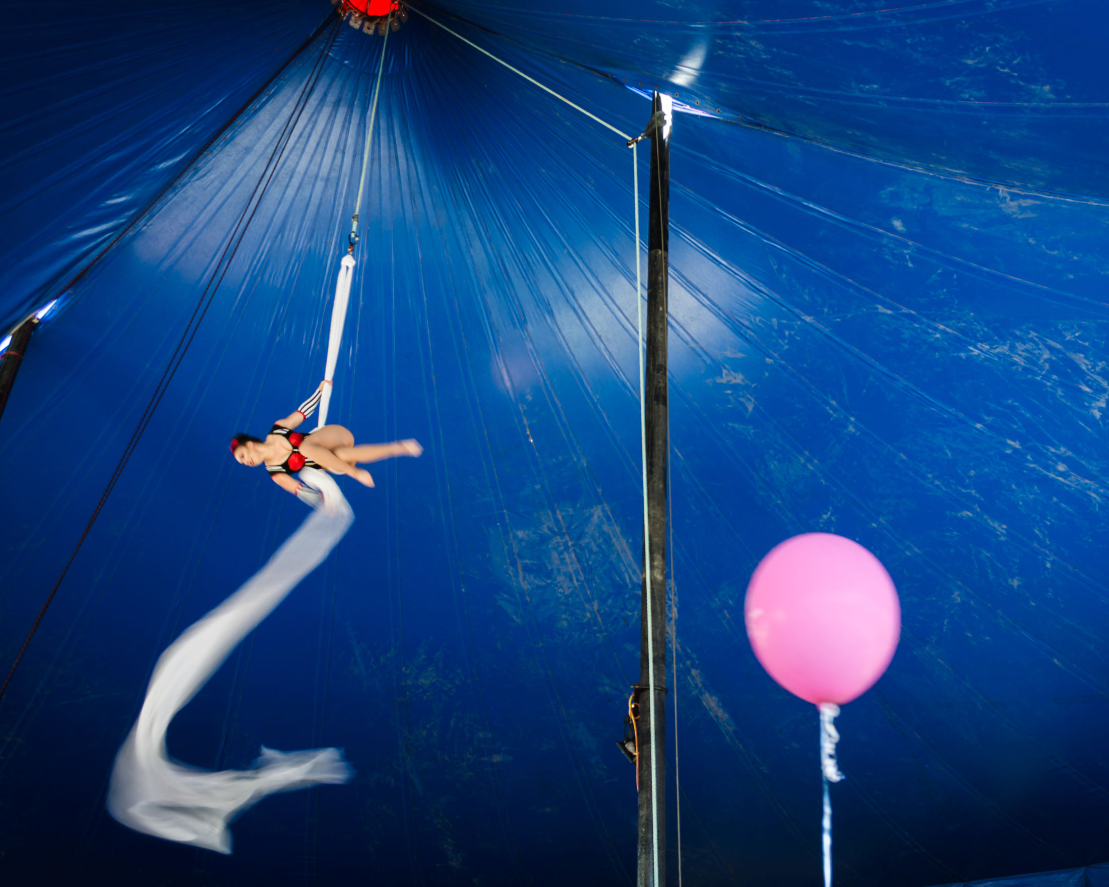 Spinning silks and balloon by Katy Bindels