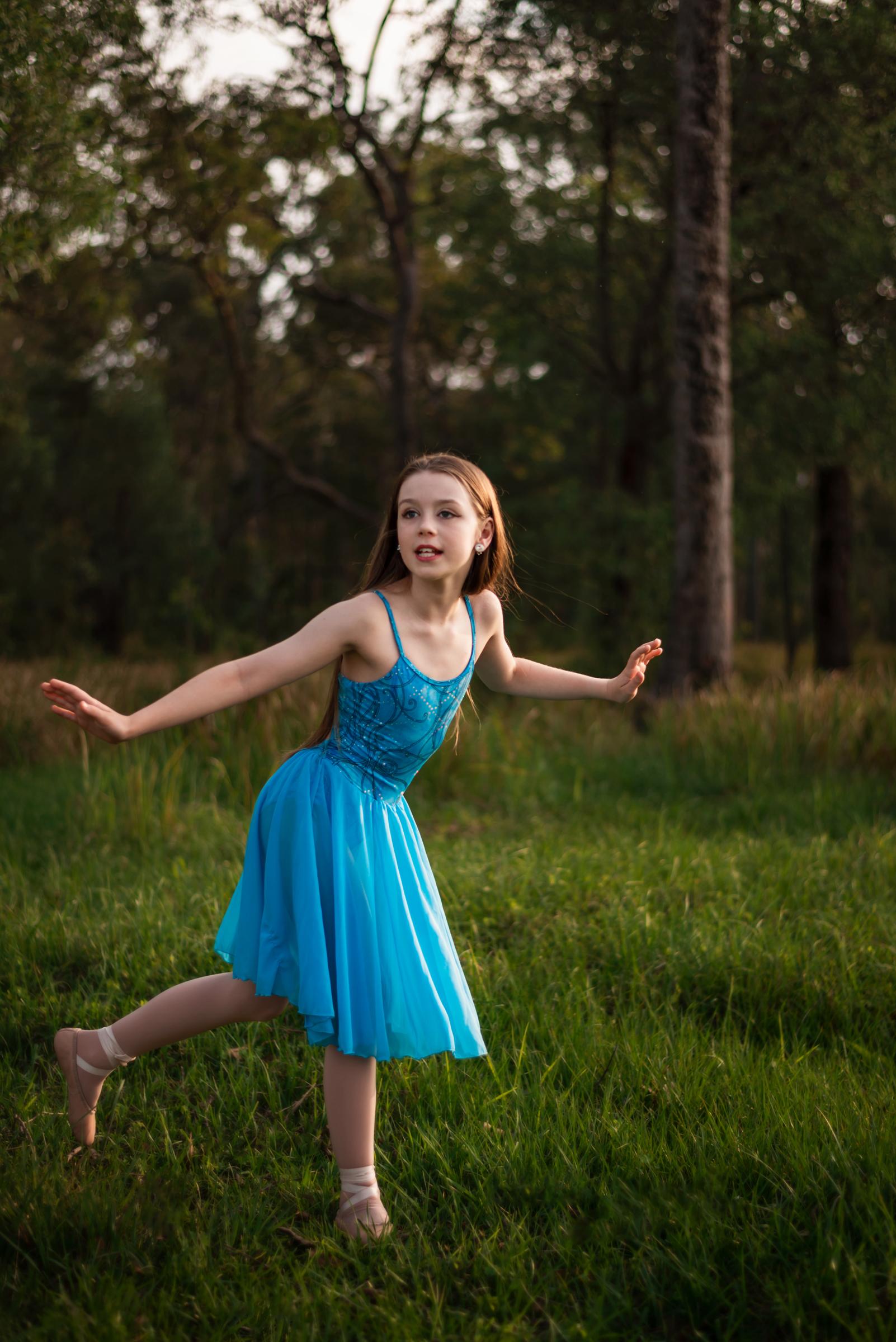 Young Brisbane dancer in blue dress