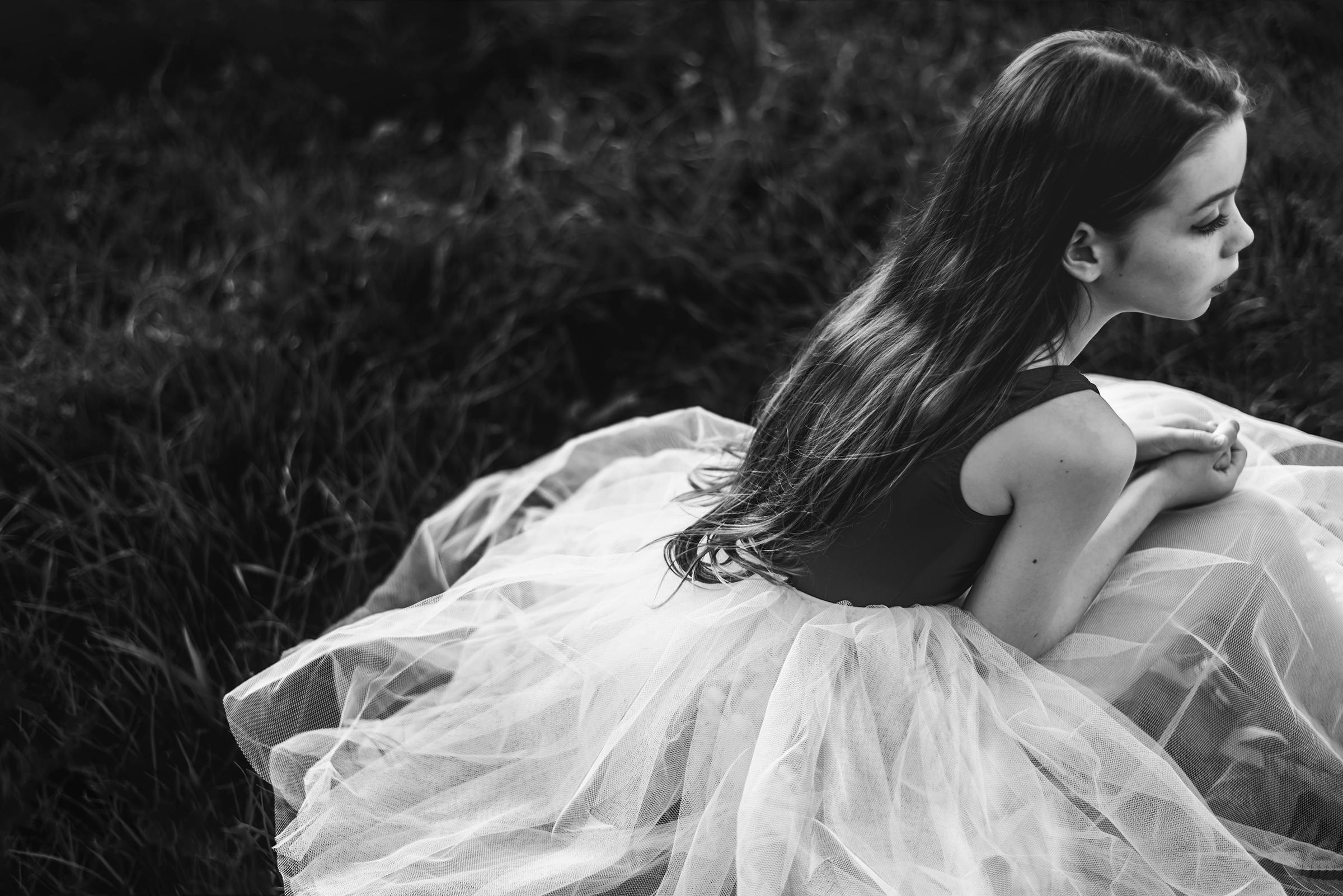 Monochrome portrait of North Brisbane girl in tutu