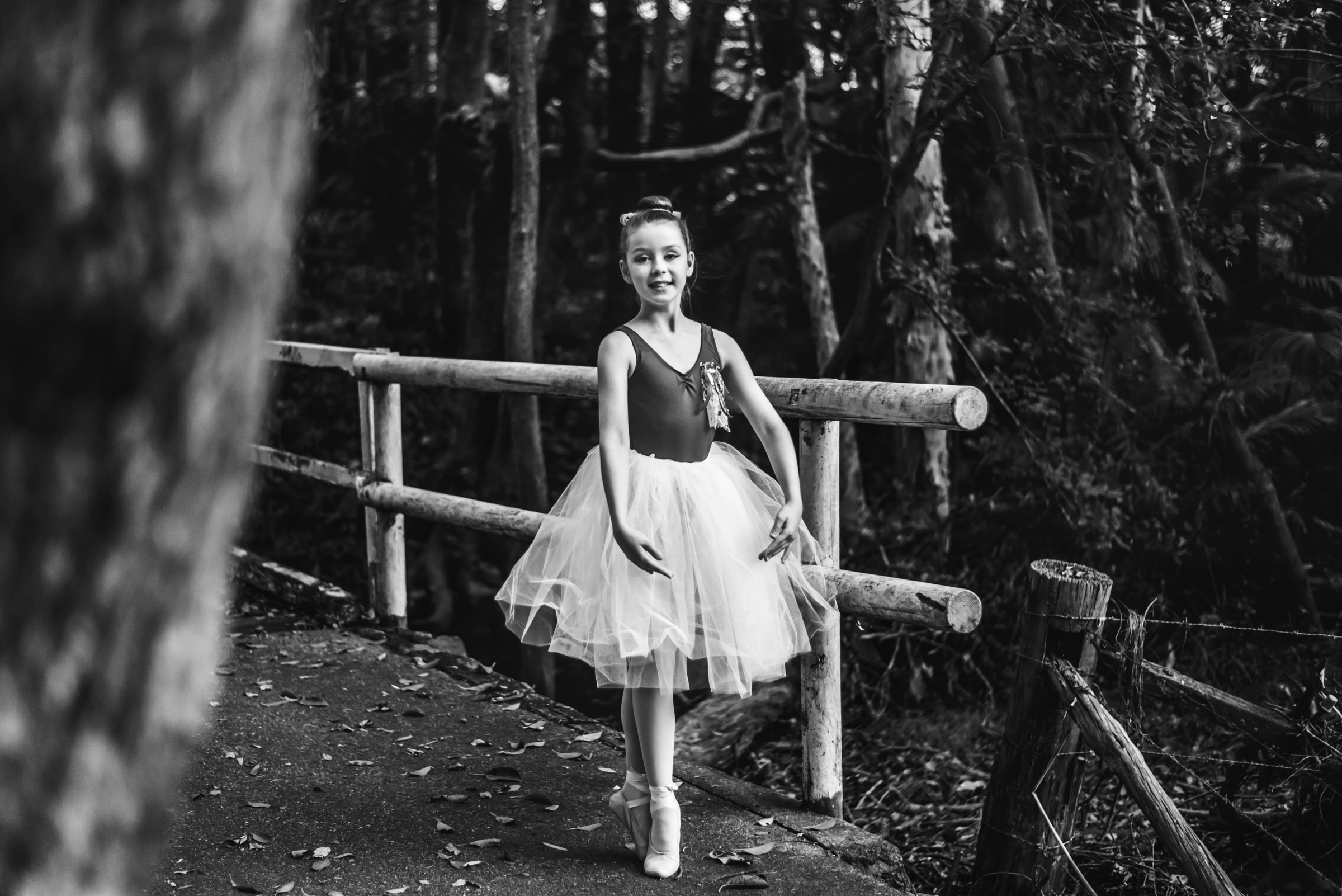 black and white portrait of young ballet dancer